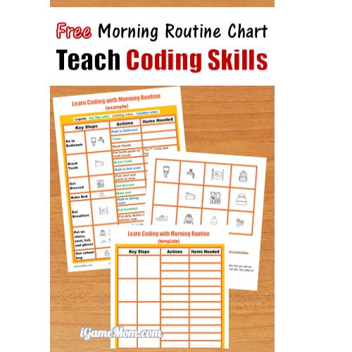 free morning routine template teaching computer coding skill