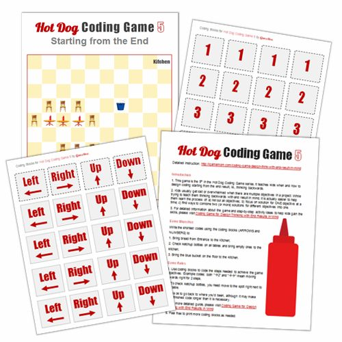Hot Dog Coding Game 5 Printables