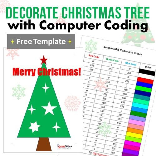 Color Mixing With Coding Decorate Christmas Trees Igamemom Store
